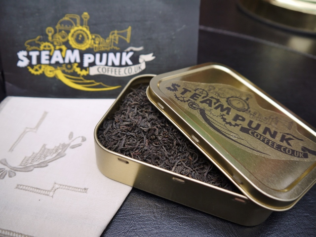 An open tin of Earl Grey tea