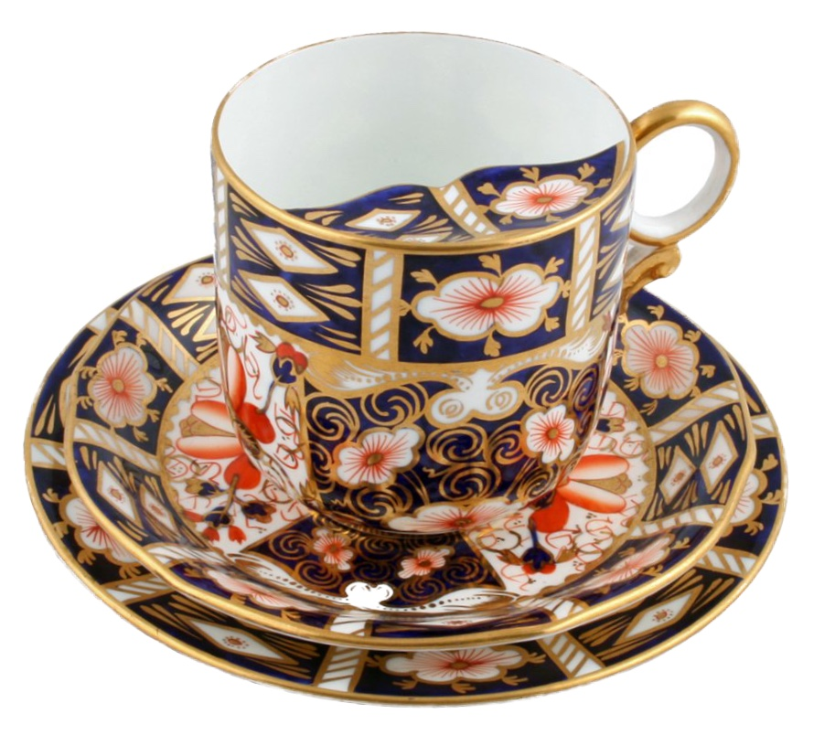 A Royal Crown Derby cup with a moustache guard