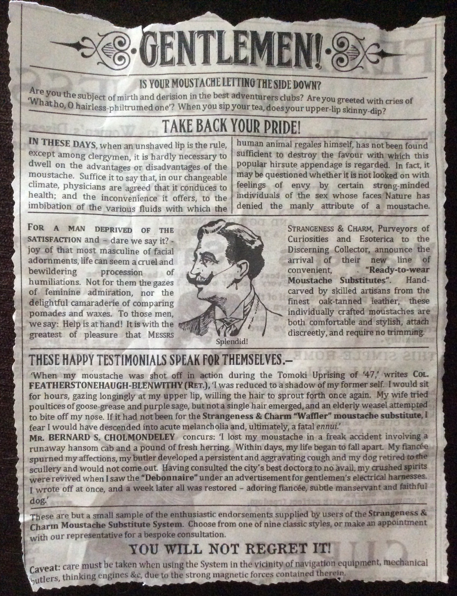 Newspaper clipping of an advert for moustache substitutes